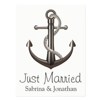 Cartão Postal Casamento cinzento de Brown da âncora náutica do