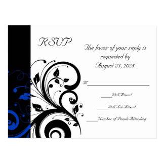 Cartão Postal Casamento corajoso preto/do branco/azuis cobaltos