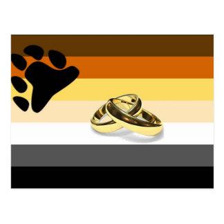 Cartão Postal Casamento do orgulho do urso de GLBT