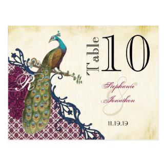 Cartão Postal Casamento elegante do pavão do damasco da baga do