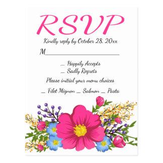 Cartão Postal Casamento floral da flor da aguarela do rosa