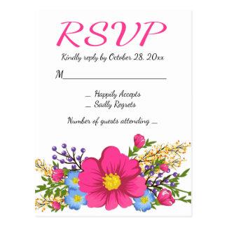 Cartão Postal Casamento floral da flor da aguarela do rosa RSVP
