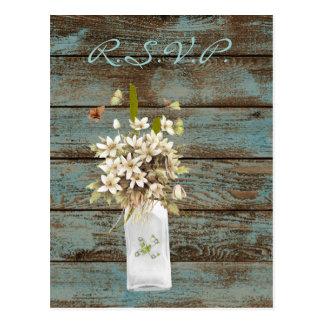 Cartão Postal casamento floral do país do barnwood elegante da