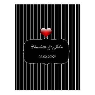 Cartão Postal Casamento moderno das listras preto e branco