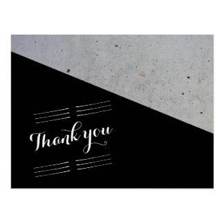 Cartão Postal Casamento moderno preto e branco concreto