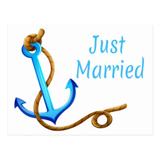 Cartão Postal Casamento náutico da âncora de turquesa do recem