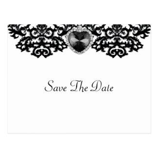 Cartão Postal Casamento ornamentado branco & preto do pendente