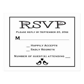 Cartão Postal Casamento preto e branco dos Lovebirds RSVP