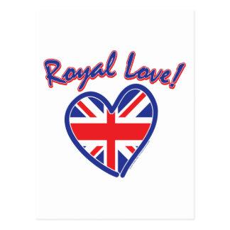 Cartão Postal Casamento real, amor real, coração de Union Jack