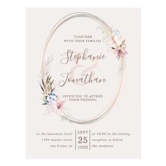 Cartão Postal Casamento romântico floral e do ouro da aguarela