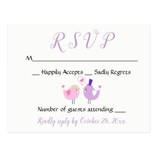 Cartão Postal Casamento roxo da lavanda do rosa do Lovebird do