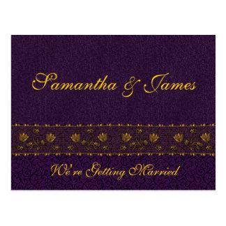 Cartão Postal Casamento roxo rico