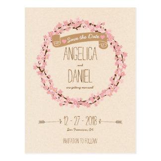 Cartão Postal Casamento rústico da grinalda da flor da flor de
