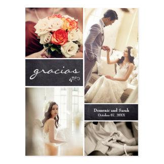 """Cartão Postal Casamento rústico riscado """"Gracias """" da colagem da"""