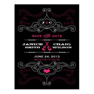 Cartão Postal Casamento temático da música cor-de-rosa & preta