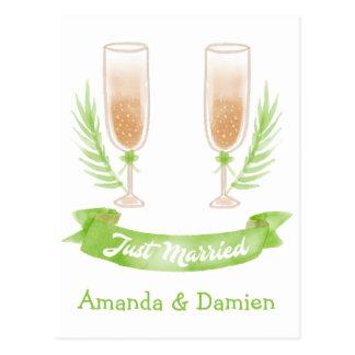 Cartão Postal Casamento verde do vidro de vinho da aguarela do