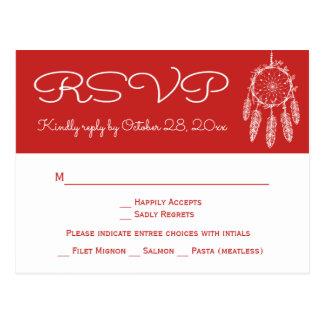 Cartão Postal Casamento vermelho de Dreamcatcher do nativo