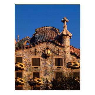 Cartão Postal Casas Batilo, arquitetura de Gaudi, Barcelona,
