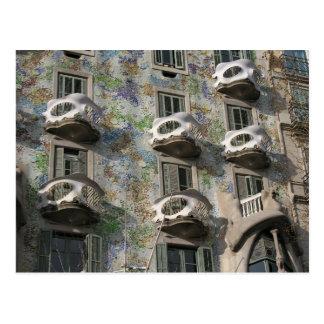 Cartão Postal Casas Batlló em Barcelona por Antoni Gaudí