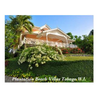 Cartão Postal Casas de campo Tobago W.I. da praia da plantação
