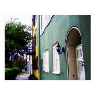 Cartão Postal Casas de fileira do arco-íris de Charleston