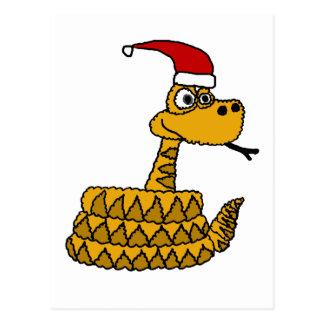 Cartão Postal Cascavel engraçado na arte do Natal do chapéu do