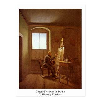 Cartão Postal Caspar Friedrich no estúdio por Kersting Friedrich