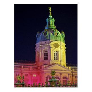 Cartão Postal castelo charlottenburg Berlim Alemanha iluminada