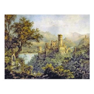Cartão Postal Castelo de Karl Bodmer- Stolzenfels, no castelo de