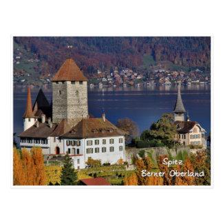 Cartão Postal Castelo de Spiez, suiça/Schloss Spiez, Schweiz