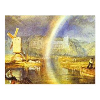 Cartão Postal castelo de william Turner arundel, com arco-íris c