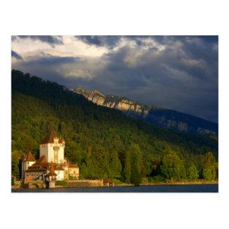 Cartão Postal Castelo/porto velhos na suiça ao lado do lago