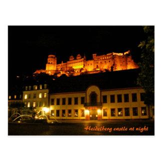 Cartão Postal Castelo romântico de Heidelberg na noite