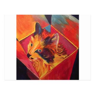 CARTÃO POSTAL CAT COLORIDO DO POP ART