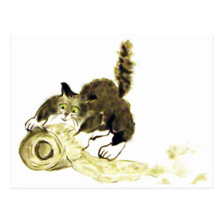 Cartão Postal Catbotage - gatinho e papel higiénico, Sumi-e