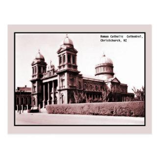 Cartão Postal catedral Christchurch Nova Zelândia do vintage