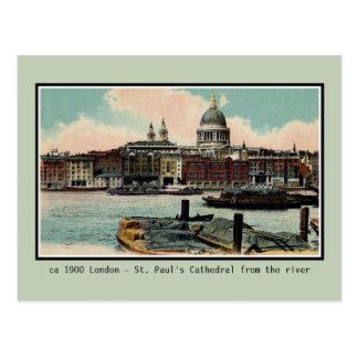 Cartão Postal Catedral de Londres St Paul do vintage de Tamisa