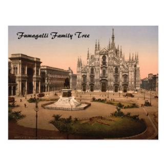 Cartão Postal Catedral de Milão e praça, Lombardy, Italia