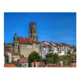 Cartão Postal Catedral de São Nicolau em Fribourg, suiça
