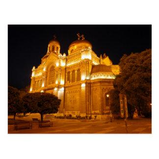 Cartão Postal Catedral de Varna na noite