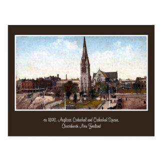 Cartão Postal catedral do vintage, Christchurch quadrado NZ