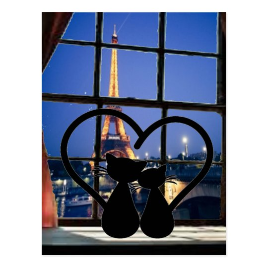 Cartão Postal cats in   love in  paris