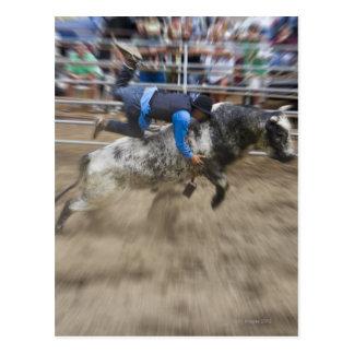 Cartão Postal Cavaleiro de Bull jogado fora do touro