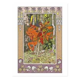 Cartão Postal Cavaleiro vermelho por Ivan Bilibin