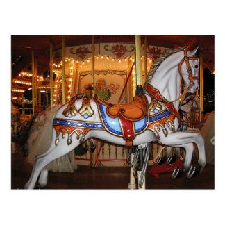 Cartão Postal Cavalo 001 do carrossel do vintage 01