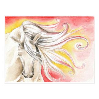 Cartão Postal Cavalo andaluz da luz do sol