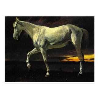 Cartão Postal Cavalo branco e por do sol por Albert Bierstadt
