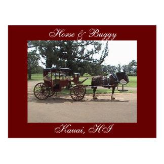 Cartão Postal Cavalo & carrinho, Kauai, HI
