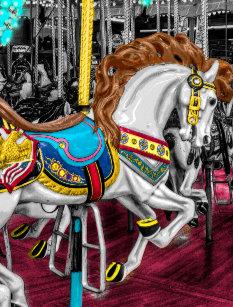 7fe1633d7f6 Cartão Postal Cavalo colorido do carrossel no carnaval
