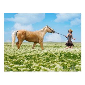 Cartão Postal Cavalo conduzido pela menina